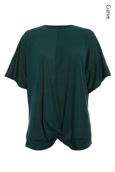 Curve Bottle Green Ribbed Knot Front Top